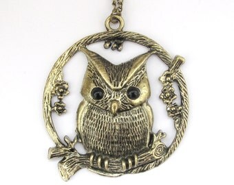 Big Alloy Metal Owl Tree Flower Pendant Necklace Long Chain 67mm x 60mm  T2946