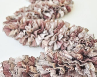 Mauve Ribbon Scarf, Long Textured Frilly Scarf -