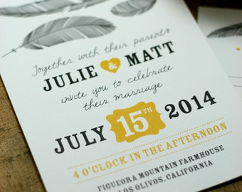 Feather Wedding Invitation - PRINTABLE