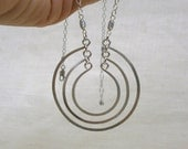 Silver Circle Necklace Open Circles Pendant Hammered Wire Jewelry Silver RIngs Necklace