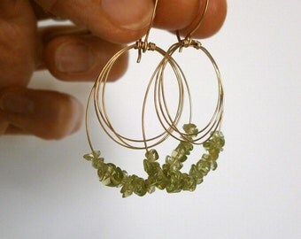 Peridot Earrings 14k Gold Fill Hoop Dangles Gold Circles Drop Earrings Small Green Gemstone Bead Dangles August Birthstone Wire Jewelry