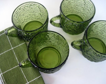 Green Punch Cups, Anchor Hocking Cups,  Avocado Green Cups, Vintage Punch Cups, Green Cups, Iced Coffee Cups, Vintage Green Cups, Green