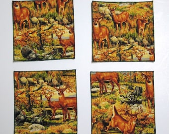 "Sportsman's Paradise - Deer In The Woods 6"" Square Cocktail Napkins - Set of 12"