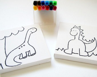 DIY kids mini canvas coloring kit- dinosaur children canvas kit project, kids DIY craft activity, children decor