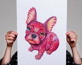 French bulldog // SALE 1+1// Buy one get one FREE, animal art print, Raspberry Frenchie dog, size A3