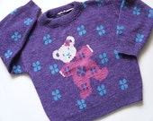 Vintage Girls Sweater - Ugly Sweater - Purple Sweater - Kids Sweater- 5T/6 - Bear - Tossed Teddy Bear