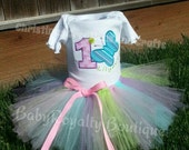 1st Birthday Butterfly COMPLETE Outfit Matches Hugs and Stitches Party Theme