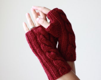 Burgundy knit gloves, Burgundy fingerless gloves, Knit fingerless mittens, Burgundy gloves, Women burgundy mitt, Burgundy mittens, Knit mitt
