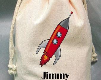 6x9 Drawstring Bags- Wedding Favor-Party Favor - Pick SIze - Muslin Bag - Rocket - Customize