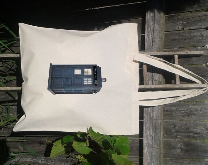 Tardis Dr Who Phone Booth -Canvas Tote Bag 15x16 large tote -Thick Canvas