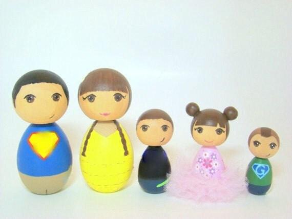 Custom Kokeshi Doll Family of 5 - Hand Painted Dolls