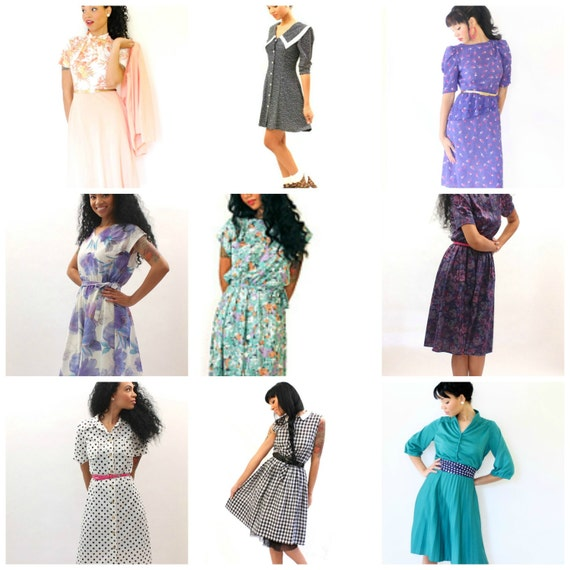 Vintage Lot of Ten Dresses for Resale or Wear Retro Womens Clothing