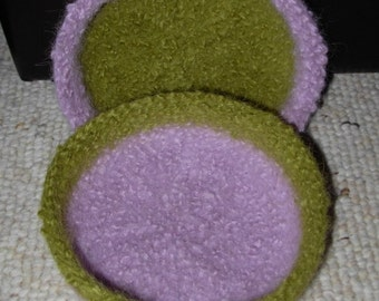 Two Color (Light Lavender and Olive Green) Felted Bowl