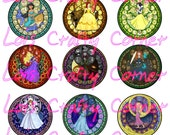 INSTANT DOWNLOAD - Stained Glass Princesses  - 1 inch -Digital Collage sheet for Scrapbooking or Bottle Caps