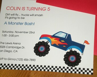 Monster truck : birthday party invitations - Set of 12