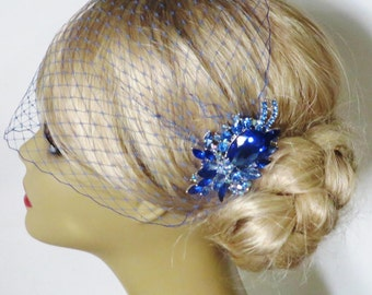 Something Blue Comb-  Birdcage Veil  and a Bridal Hair Comb (2 Items) bridal veil bridal headpiece Rhinestone Bridal Hair Comb Weddings