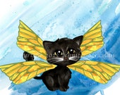 Frixie, feline pixie, watercolor print, Fairy cat, Adorable big eyed kitten artwork, yellow and blue