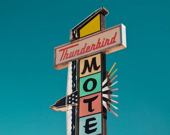 Reno Thunderbird Motel Sign - Mid Century Modern Art - Retro Neon Sign - Pastel Home Decor - Retro Office Art - Fine Art Photography