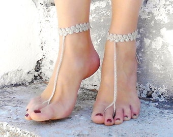 Crochet  barefoot sandals, Tan ( Lignt Beige )  nude shoes, wedding,sexy, yoga, anklet, beach
