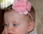 Boutique Baby Girls Pink Satin Tulle Puff Flower on a Pink Skinny Elastic Headband Perfect for Newborn Photo Props