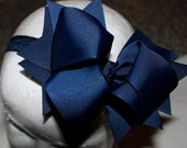 Boutique Baby Navy Elastic Headband with Navy Large Hair Bow Perfect for Everyday or Fourth of July