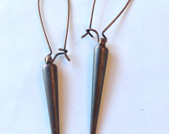 Long Pendulum Spike Earrings Metallic Antiqued Bronze