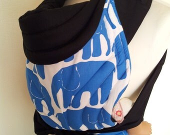 MEI TAI Baby Carrier / Sling / Reversible/ Blue Elephants with Black in leg cut model
