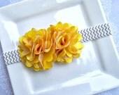 Alyssa- Double Yellow Satin and Tulle Mini Flower Chevron Elastic Headband