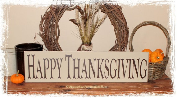 Happy Thanksgiving-Decor/Fall Sign/Primitive Fall Decor/Thanksgiving Sign/Home Decor/Fall Porch Decor/Handcrafted