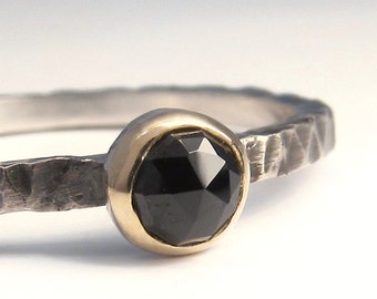 Black Gemstone Stack Ring,  in sterling silver and 10k gold, small stone ring, mixed metal, SIZE 6
