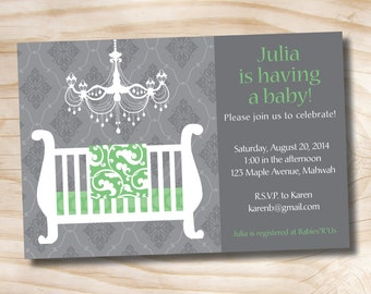 ELEGANT CHANDELIER BLANKET Baby Shower Party Event - Printable Digital file or Printed Invitations