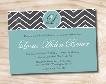 Chevron Baptism Invitation - Printable digital file or printed invitations