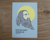 Walt Whitman Print 5x7 Archival Quality Print Sun Earth Inspirational Quote