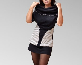 Black cotton spandex jersey Cowl neckline tunic tops/women tops with big pockets