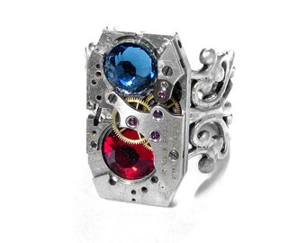 Steampunk Jewelry Ring Vintage ART DECo Watch Movement SOLDERED Blue Red Crystals Wedding Anniversary BEAUTY - Jewelry by Steampunk Boutique