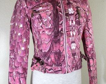 Vintage Just CAVALLI Purple Cropped Denim Jacket XS 0 1 2 3