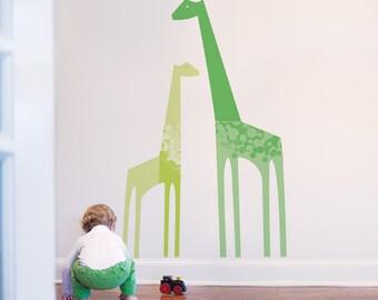 Nursery Wall Decal Giraffe Wall Decal Green Baby Wall Decal Baby Room Decor Kids Wall Decal. Giraffes Children Wall Decal