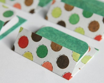 Mini Cards n Envelopes - Set of 6 - Red, Green, Yellow, Brown Dots and Green Designs