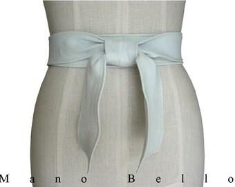 Basic White Leather Tie Belt, White Leather Coat Belt, White Obi Belt  xsmall - small - medium - large - extra large, custom