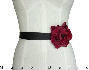 LEATHER FLOWER BELT Bridal Belt Wedding Dress Belt Tie Belt Black Red Leather Flower Leather Ribbon Sash, Solo Leather Flower Belt, in stock
