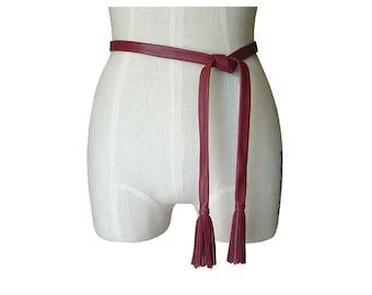 Minimalist Leather Tie Belt with Tassles Soft Leather Belt , Black, Burgundy, Brown,Taupe Lambskin  custom order