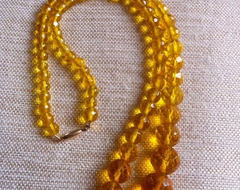 Vintage Art Deco Amber Colored Glass Beaded Necklace