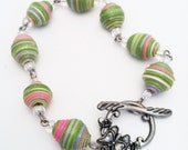 Chunky Paper Bead Bracelet - made from an Upcycled Cardboard Box Pink and Green - Paper Bead Bracelet - Spring bracelet - Recycled Jewelry