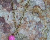 Hand stamped antique brass necklace