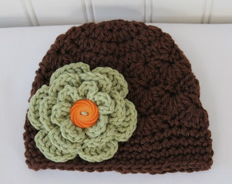 Crochet Girls Hat - Baby Hat - Toddler Hat - Fall Hat - Winter Hat - Chocolate Brown with Country Green Flower - in sizes Newborn to 3 Years