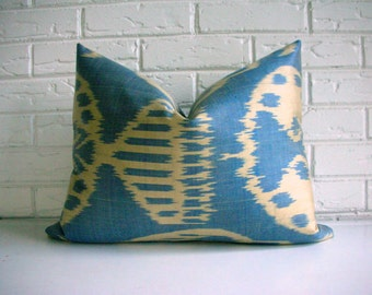 Blue Ikat Throw Pillow Cover Silk - Blue Khaki Light Olive Green - Tribal Accent Cushion
