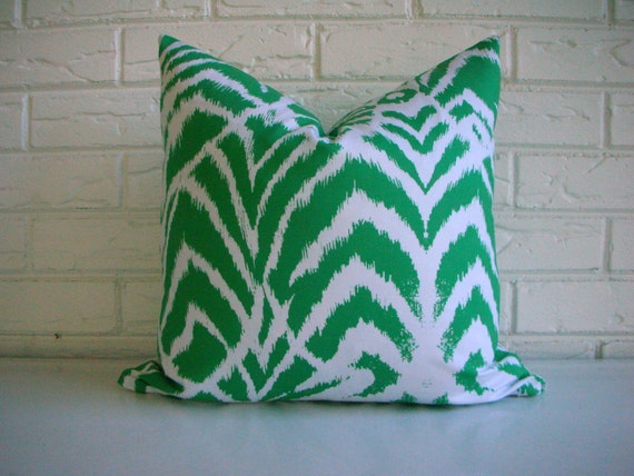 Emerald Green Ikat Pillow Cover - Green and White Modern Pillow - Modern Eclectic Decor