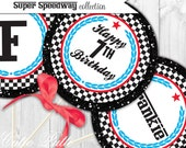 """Race Car Party Printable 4"""" Custom Party Circles by Cutie Putti Paperie"""
