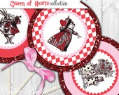 "Queen of Hearts Party Printable 4"" Themed Party Circles by Cutie Putti Paperie"