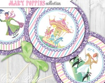 "Mary Poppins Party Printable 4"" Themed Party Circles by Cutie Putti Paperie"